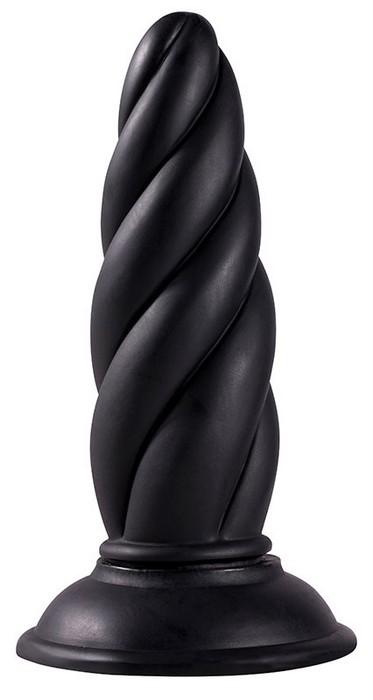 Фаллоимитатор витой черный MENZSTUFF TWISTED PROBE BLACK 13 см.
