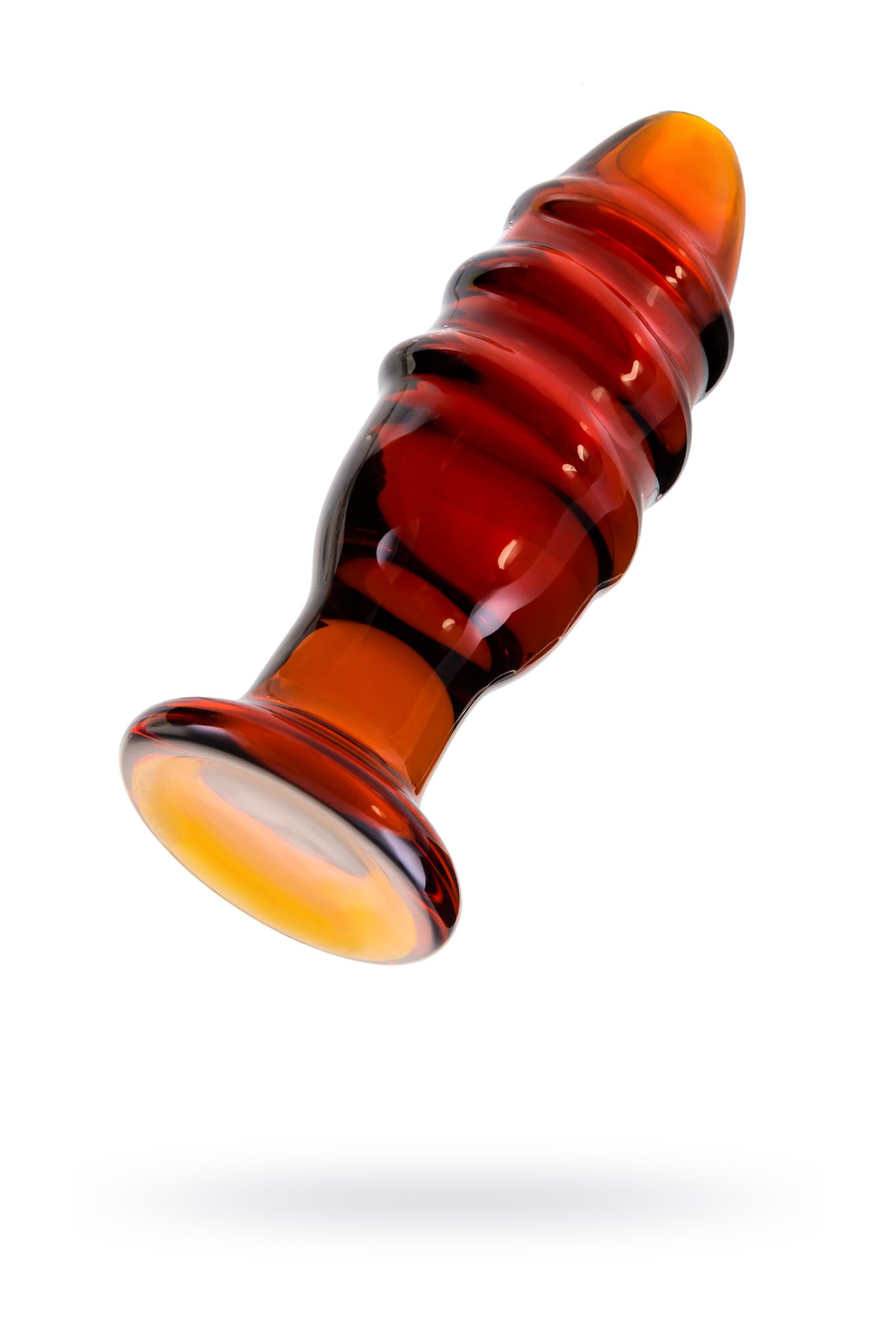 Анальная втулка Sexus Glass, стекло, коричневая, 12,5 см,  4 см