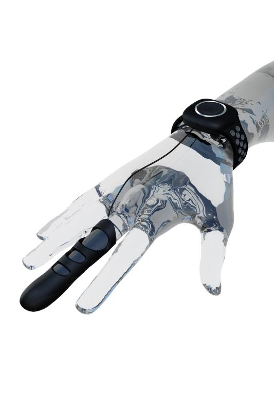 Вибронасадка на палец Adrien Lastic Touche размер L, силикон, чёрный, 8,9 см