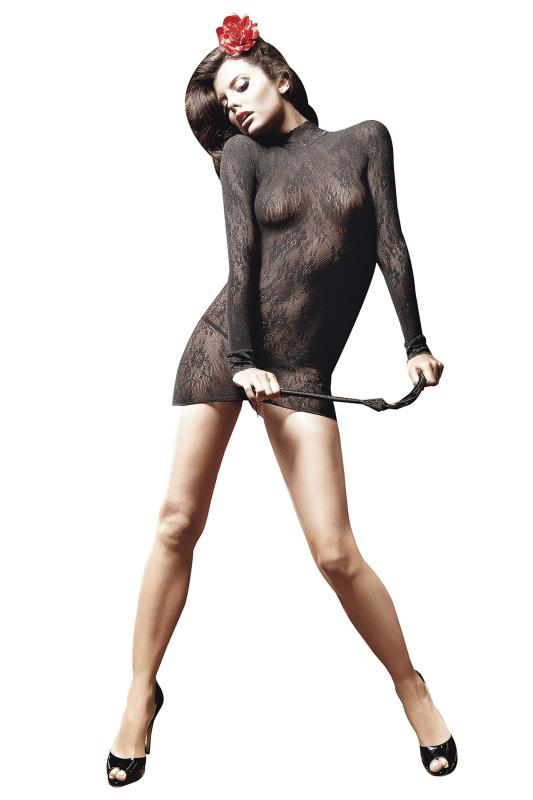 Платье с длинными рукавами из ажурной сетки Baci чёрное-OS