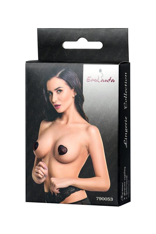 Пэстис Erolanta Lingerie Collection в форме сердец со стразами и цепочкой черно-красные