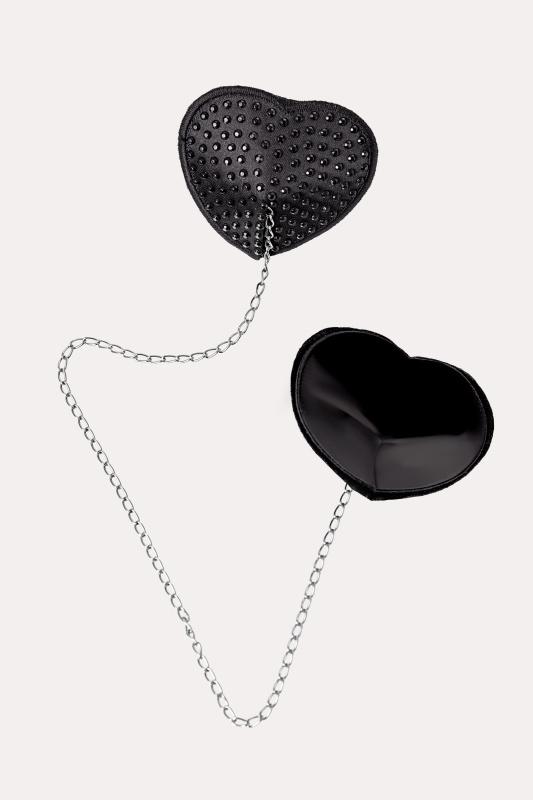 Пэстис Erolanta Lingerie Collection в форме сердец со стразами и цепочкой черные