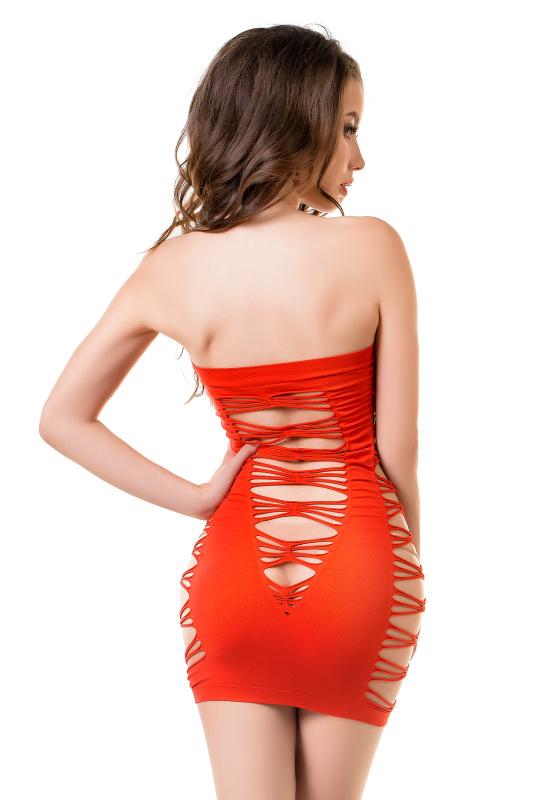 Платье-сетка Joli Bondi, красный, S/M