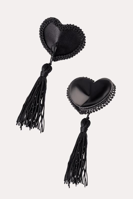 Пэстис Erolanta Lingerie Collection в форме сердец с кисточками тканевые черные