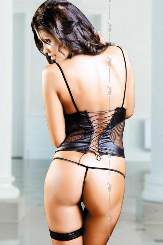 Alessa - Топ wetlook на шнуровке и стринги черные-M/L
