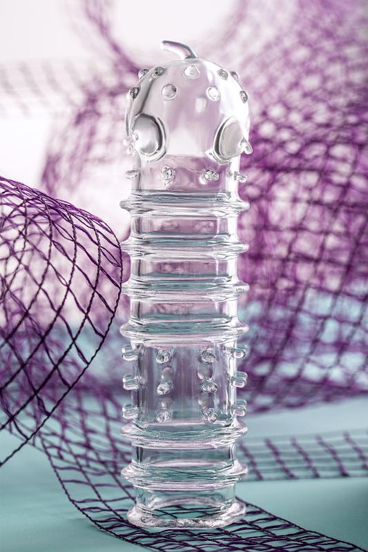 Насадка на пенис TOYFA A-Toys, TPR, прозрачная, 15,3 см.