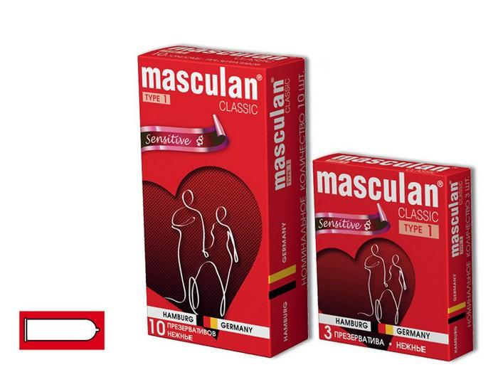 Презервативы Masculan Classic 1,  3 шт.  Нежные (Senitive) ШТ