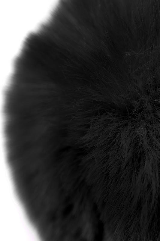 Анальная втулка TOYFA Metal, серебристая с черным хвостиком