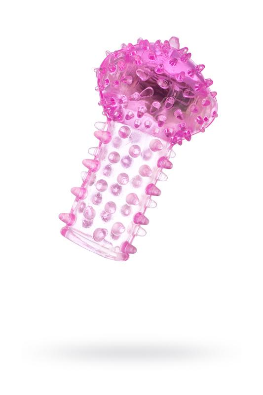 Вибронасадка на палец TOYFA, TPE, розовый, 6,5 см