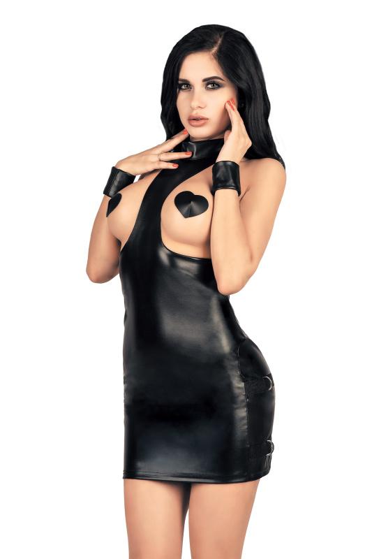 Платье с открытой грудью  MENSDREAMS, экокожа, черный M-L
