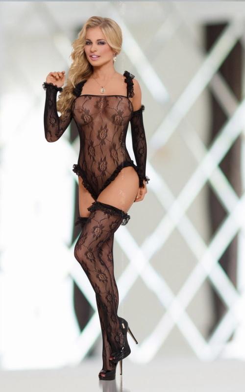 Комбинезон-сетка SoftLine Collection Burlesque, черный, S/L