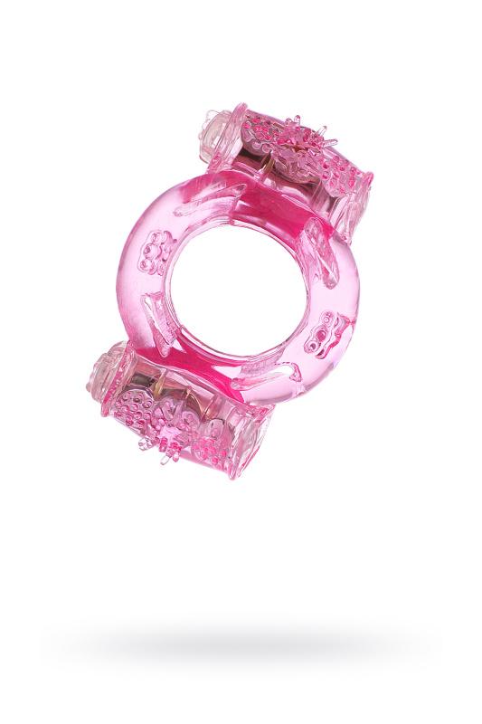 Виброкольцо двойная вибрация, TOYFA,  смликон, розовый, 7,5 см