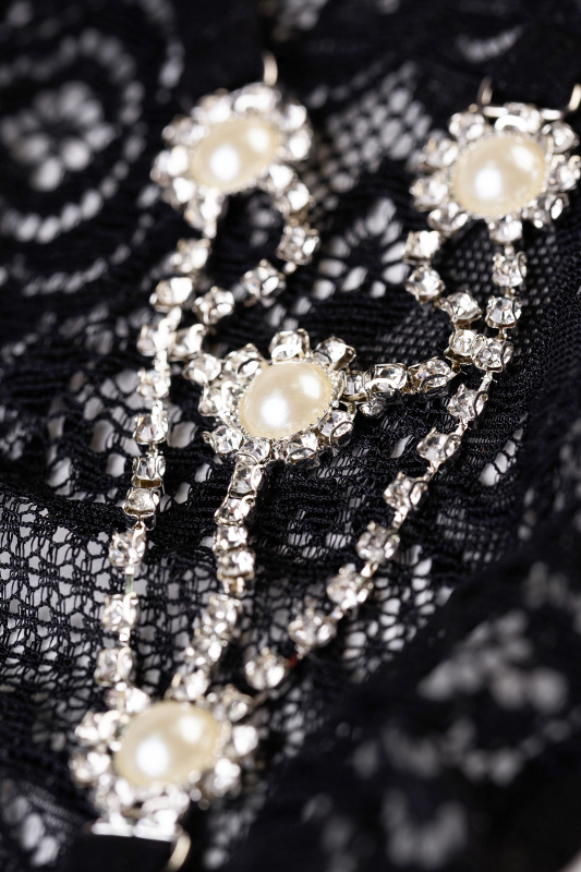 Трусики со стразами Joli Pearl, черный, OS