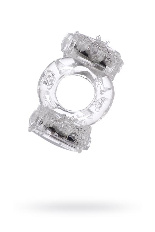 Виброкольцо двойная вибрация TOYFA, силикон, прозрачный, 7,5 см