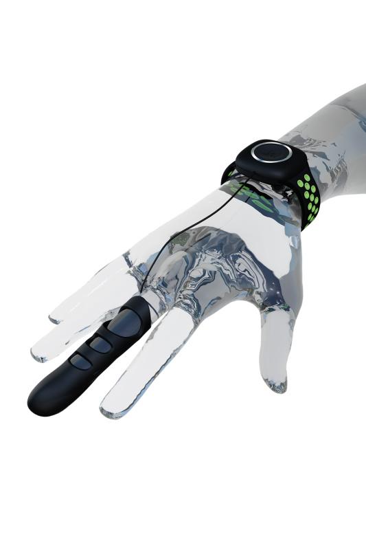 Вибронасадка на палец Adrien Lastic Touche размер S, силикон, чёрный, 7,8 см