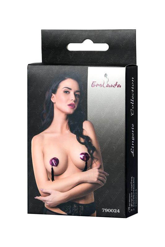 Пэстис Erolanta Lingerie Collection в форме сердец с кисточками ярко-розово-черные