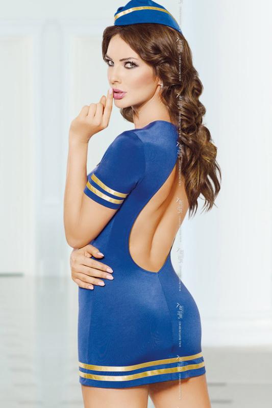 Stewardess - Костюм стюардессы (платье и головной убор) синий-M/L
