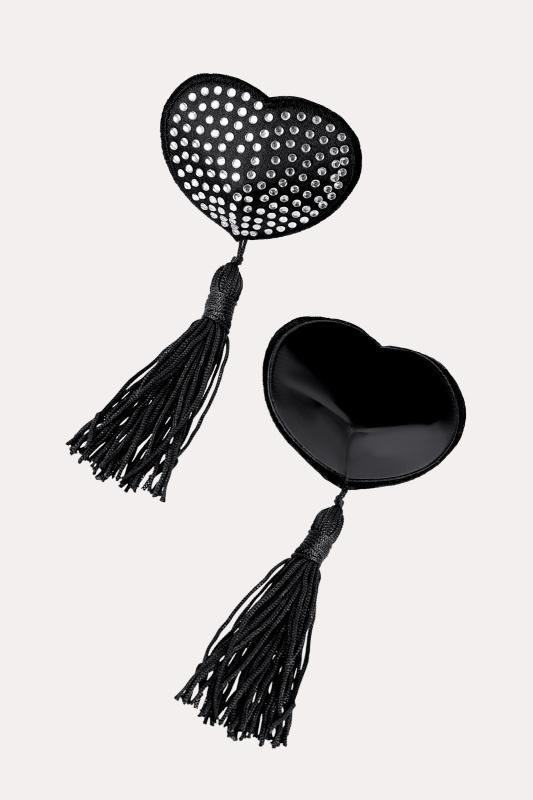 Пэстис Erolanta Lingerie Collection в форме сердец с кисточками черно-белые