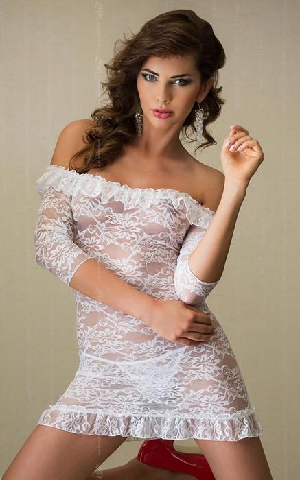 Agathe - Платье с открытыми плечами, рукавами 3/4 и стринги белые-M/L