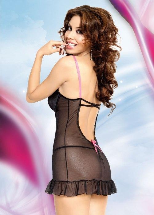 Lizzy - Ночная сорочка и стринги черно-розовые-L