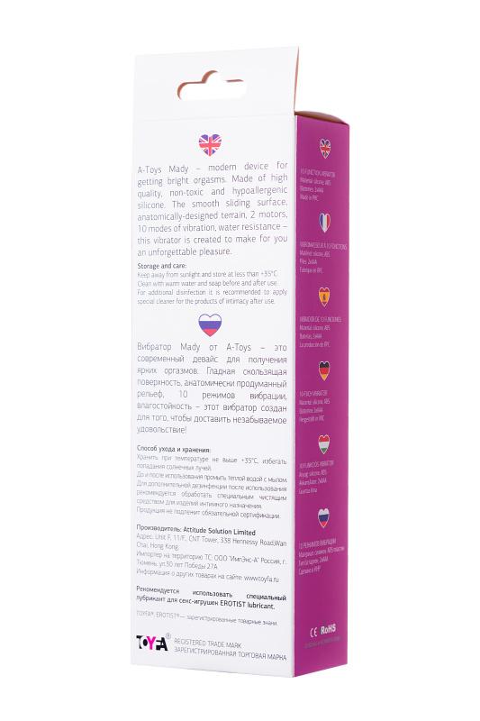 Вибратор с клиторальным стимулятором TOYFA A-Toys Mady  , Силикон, Розовый, 20,4 см