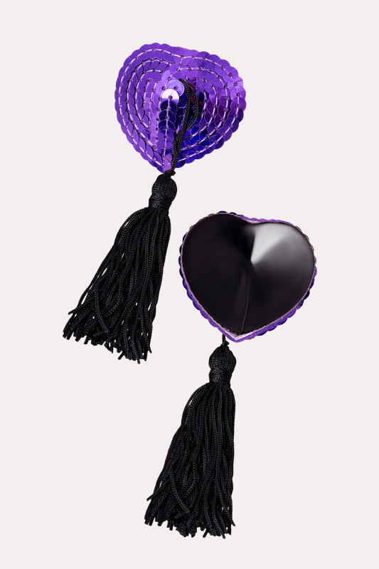 Пэстис Erolanta Lingerie Collection в форме сердец с кисточками фиолетово-черные