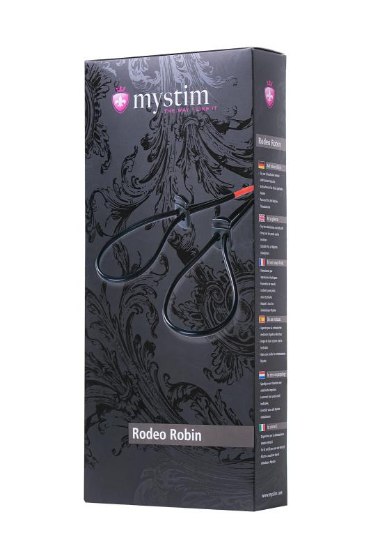 Лассо для пениса Mystim Rodeo Robin, электростимуляция, силикон, черный, 42см